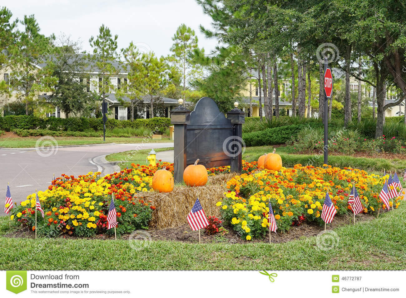 Halloween Decoration In A Garden Of A Community Village Entertainment Center Stock Photo Image