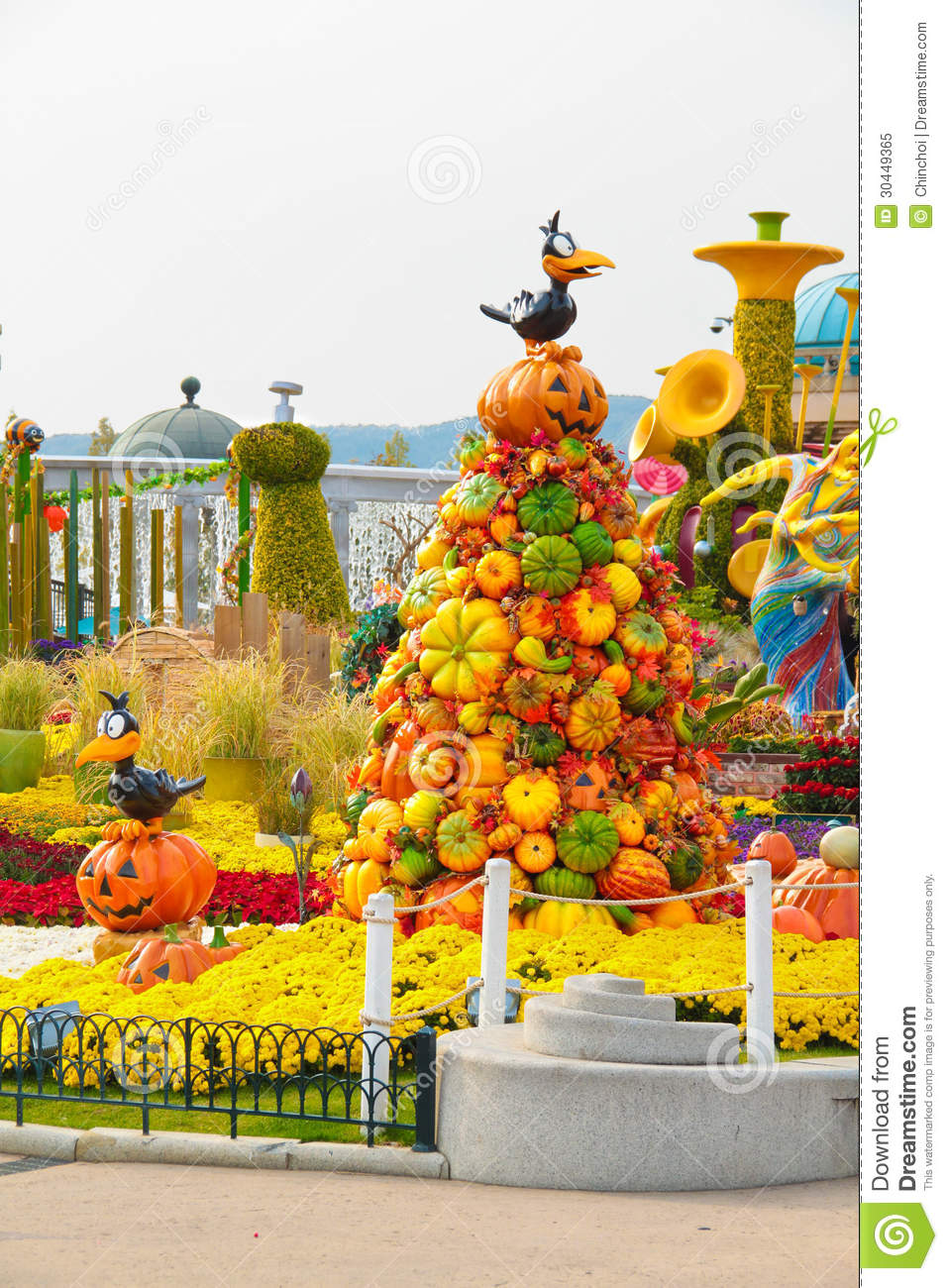 Halloween decoration at a theme park royalty free stock for Amusement park decoration ideas
