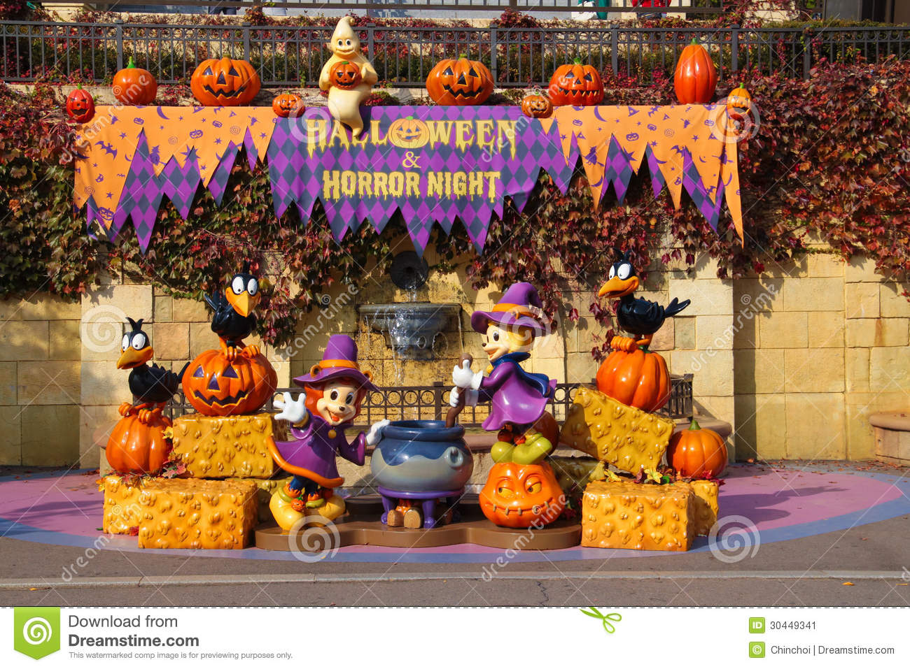 Halloween decoration at a theme park editorial photo for Amusement park decoration ideas