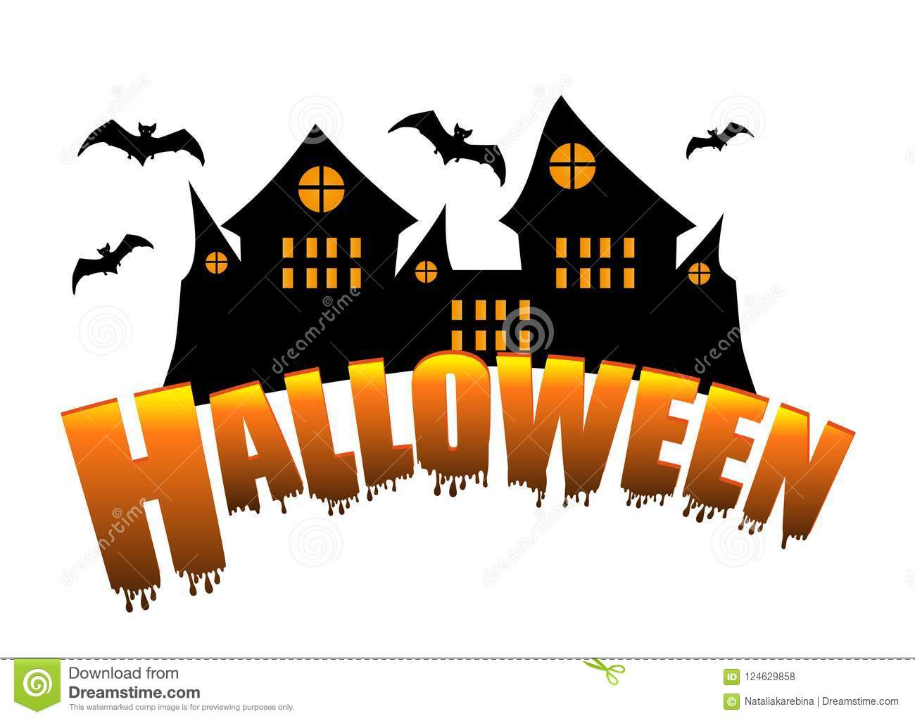 halloween decorations. castle and bats isolated on white background