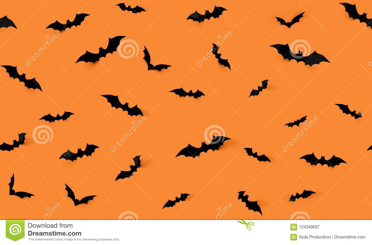 seamless pattern with halloween bats stock image - image of paper