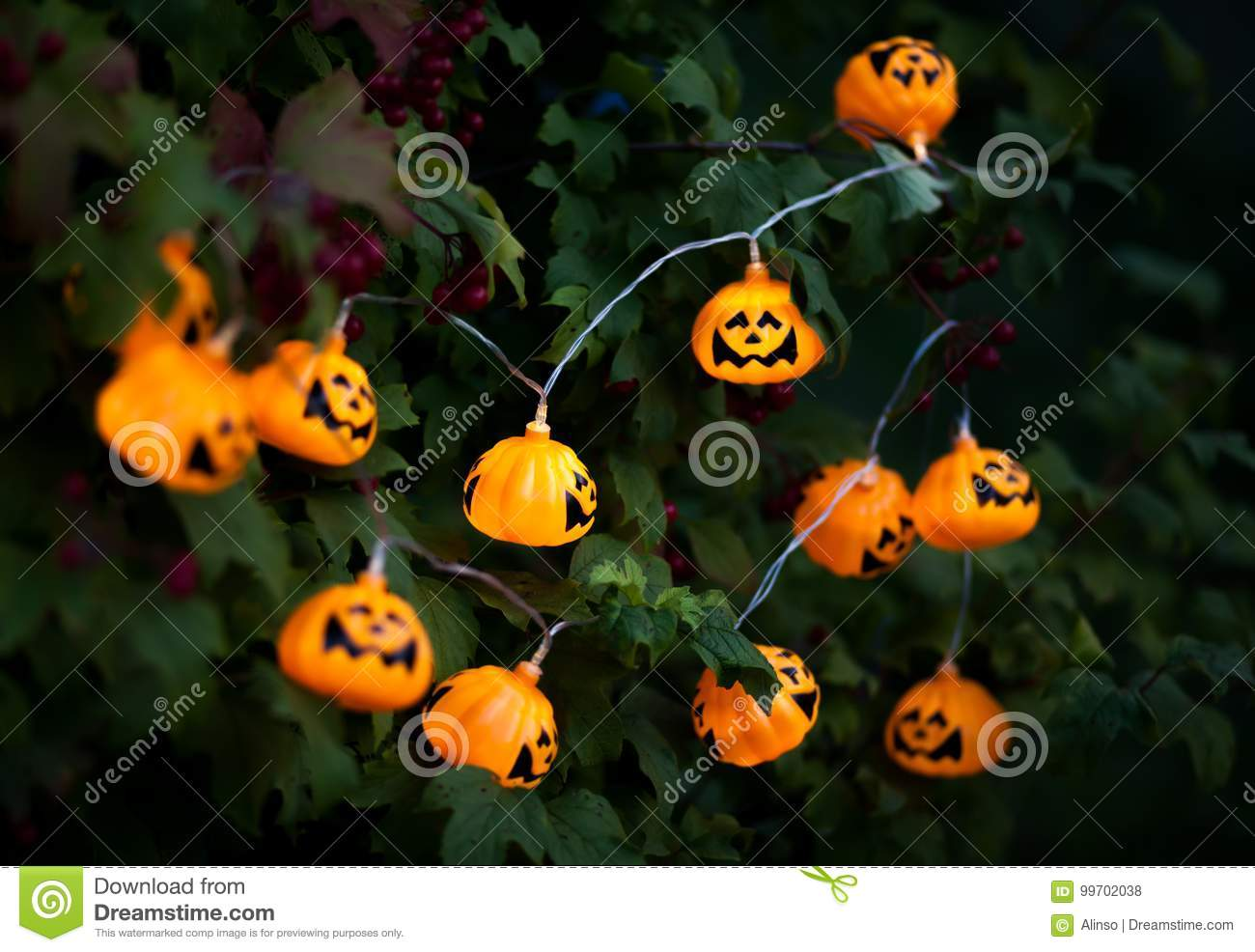 Halloween Decorations Outdoor Stock Photo Image Of Decorations Glow 99702038
