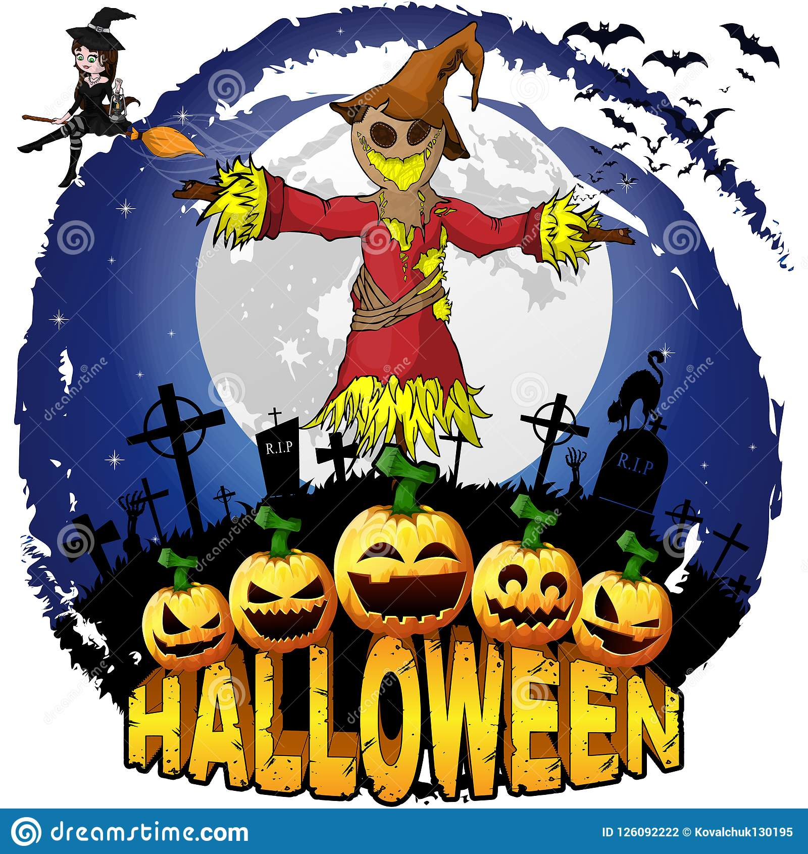Halloween Design Template With Scarecrow. Stock Vector ...
