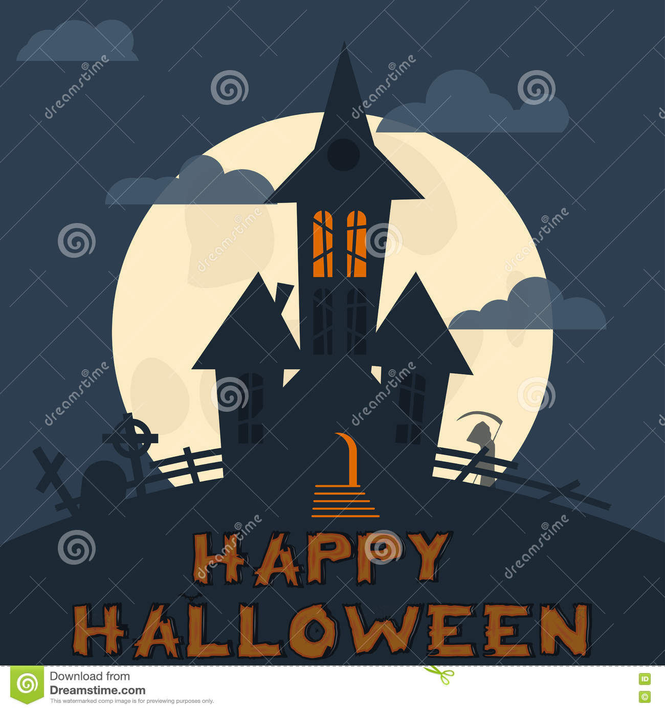 halloween design template spooky landscape with castle zombie and