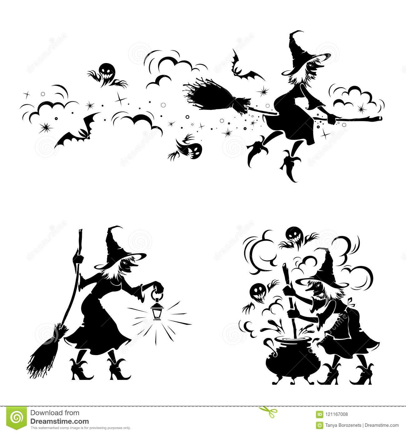 halloween detail witch and creepy ghost making magic stock vector