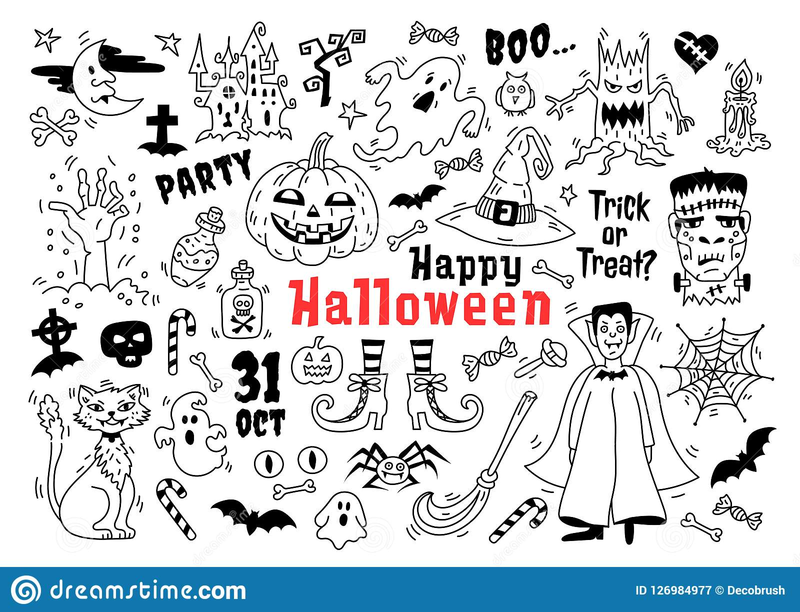 halloween doodle icon set. sketch of icons for decorating halloween