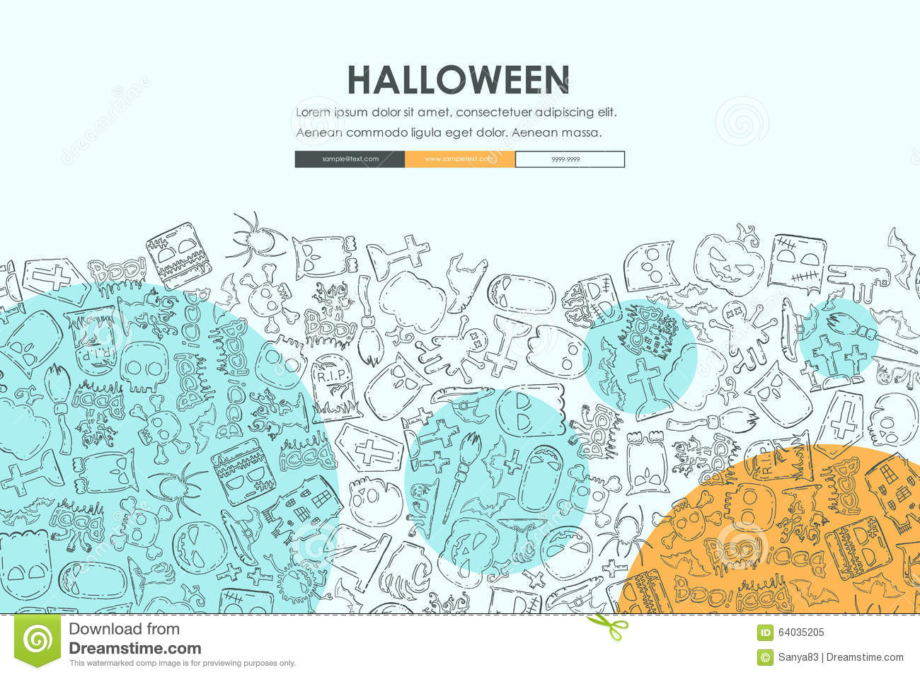 halloween doodle website template design stock vector illustration