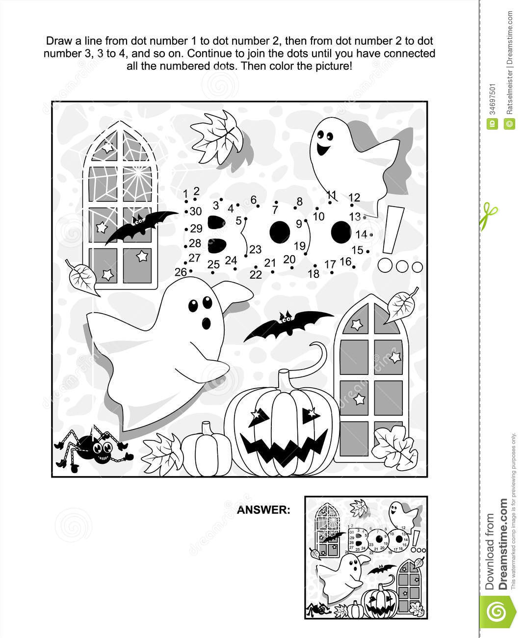 Halloween Dot To Dot And Coloring Page Stock Vector