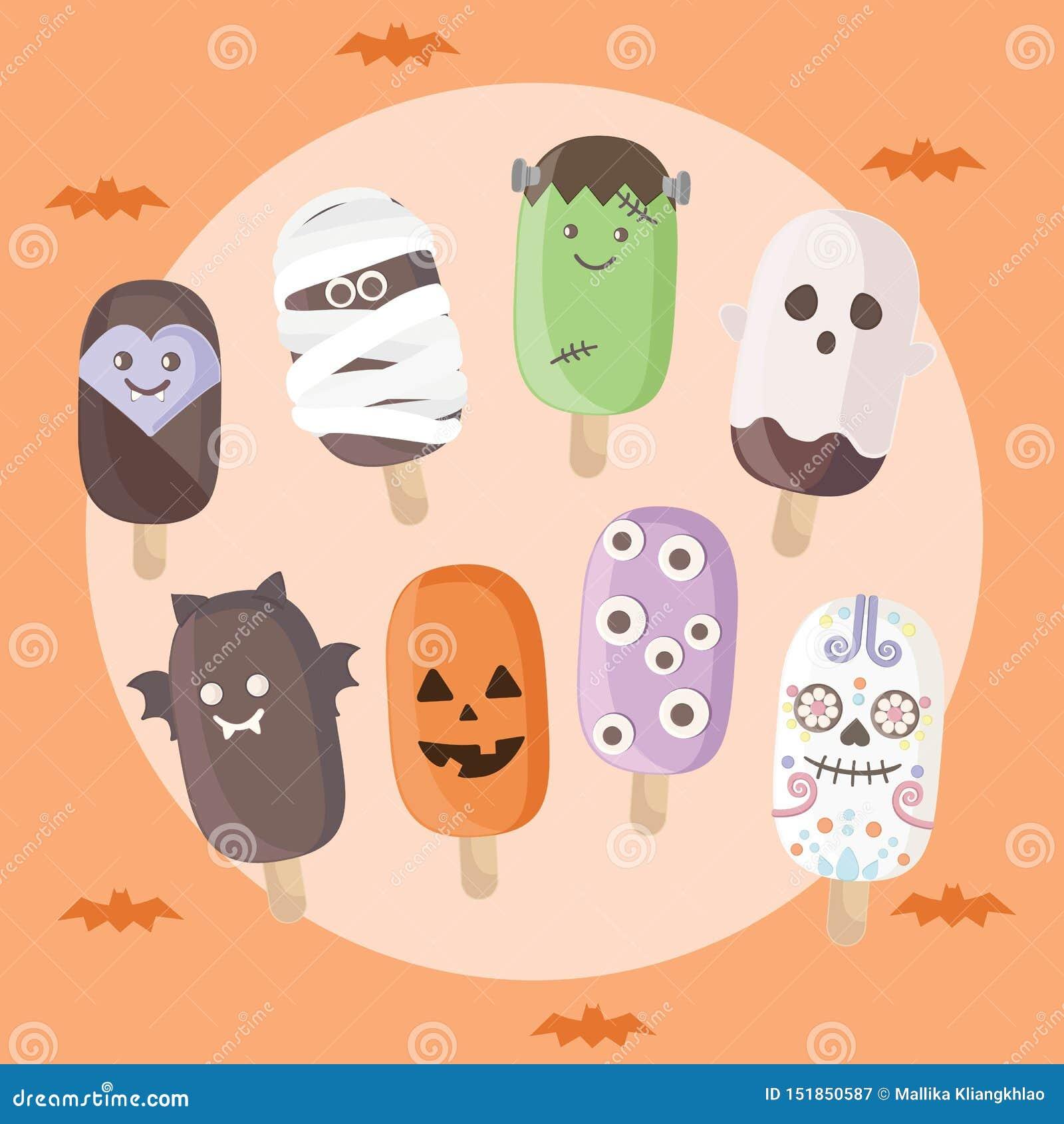 Halloween-Eiscreme-Satz