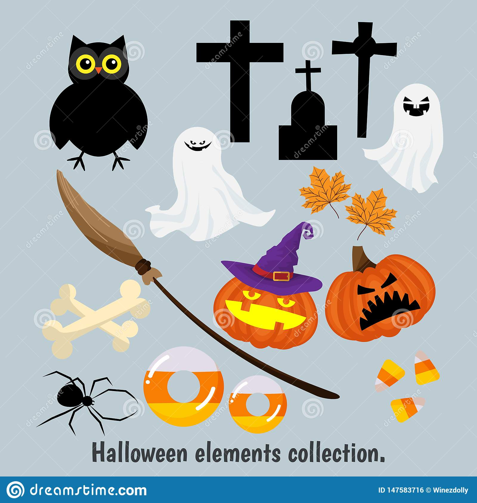 Halloween elements collection for design.