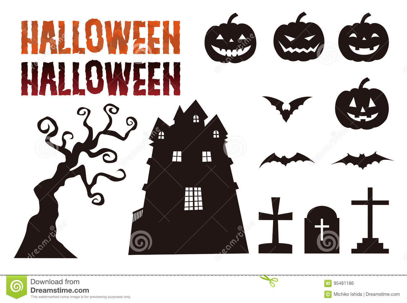 Halloween elements, jack o lantern, bat, grave and haunted mansion