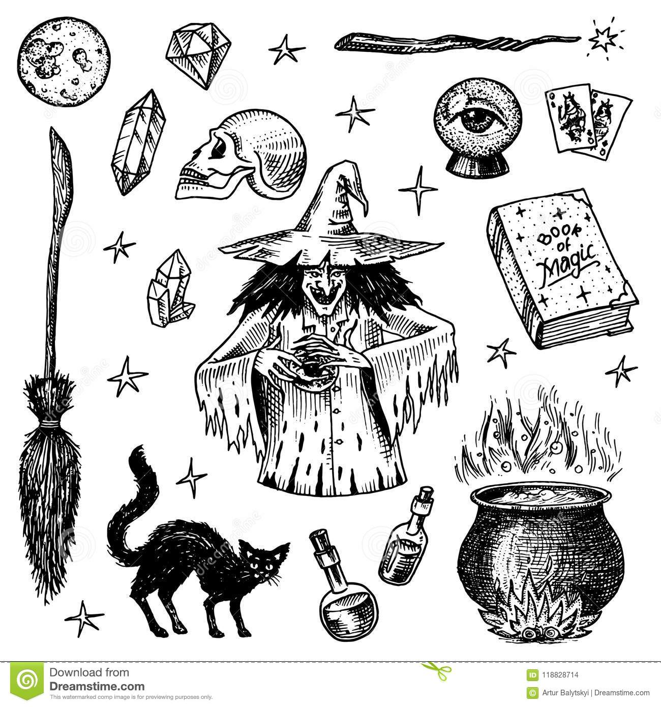Halloween elements. Magic ball, witch with book of spells, cursed black  cat, beldam and sorcery, hag or hex, potion and cauldron, skull and  fortune-telling ...