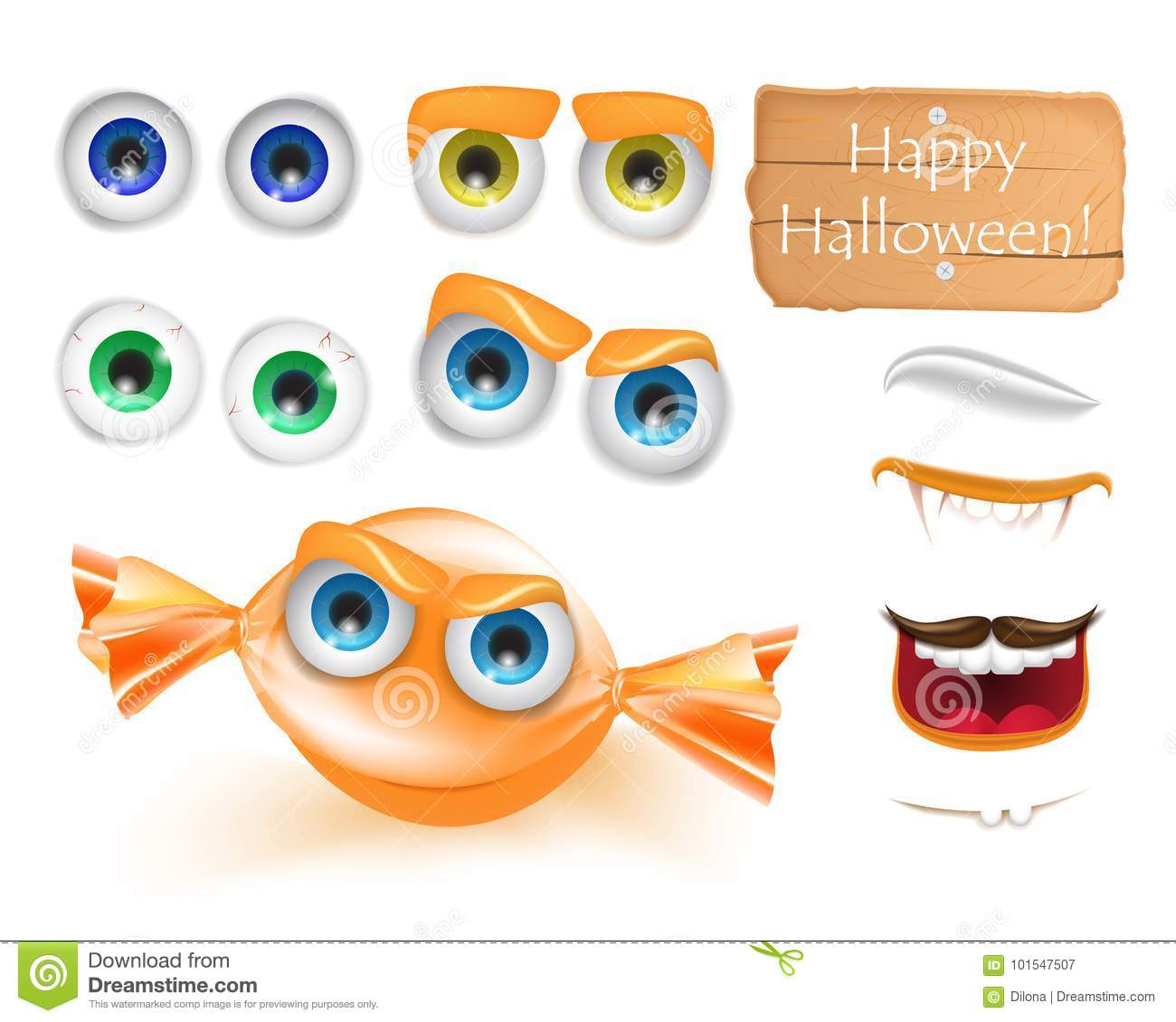 halloween emoji face character alive candy monster for your scenes