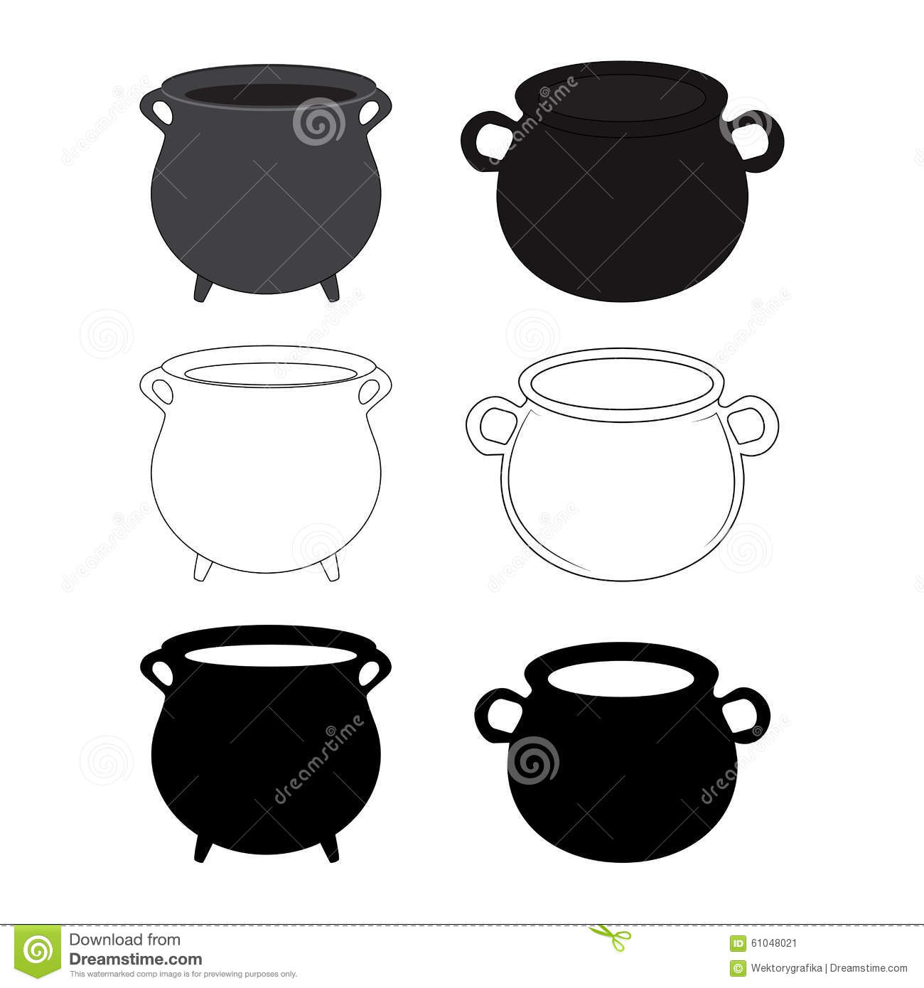 Halloween Empty Witch Cauldron, Pot Set. Cartoon Vector