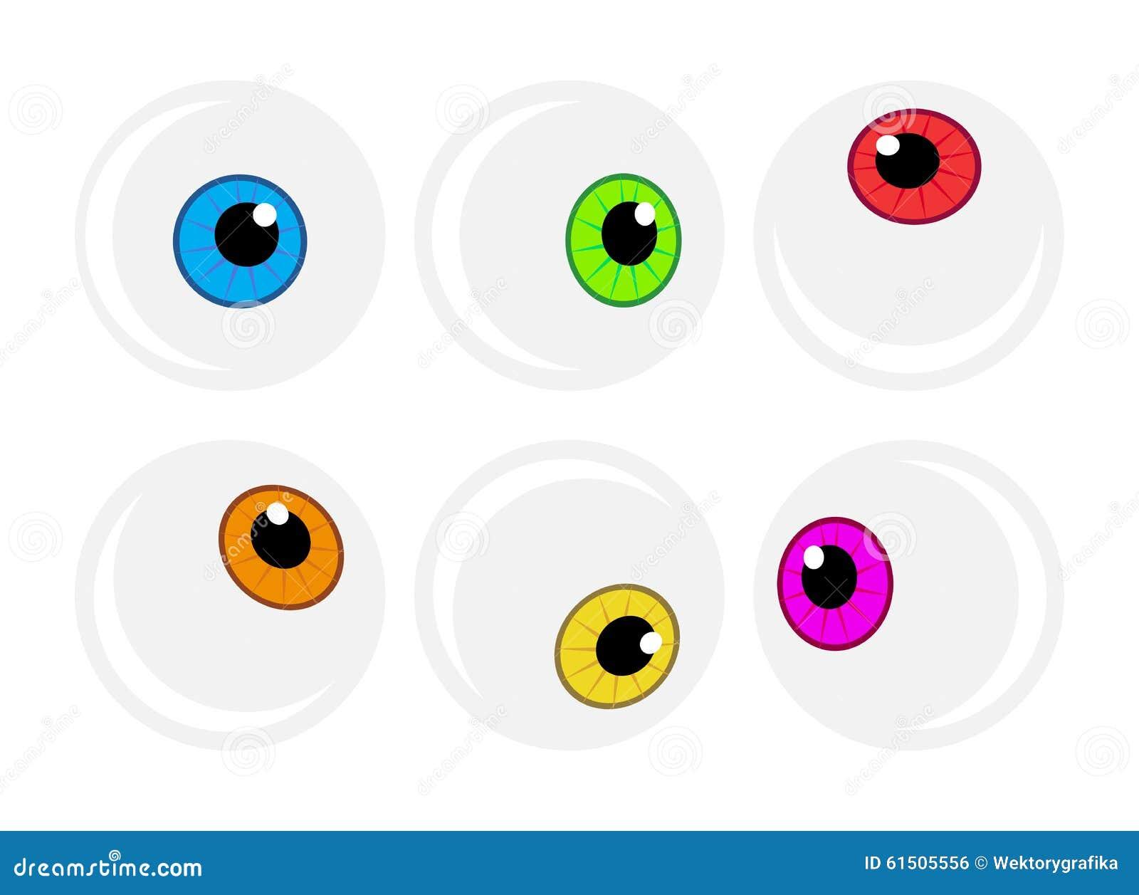 Halloween Eyeball Vector Symbol Set. Colorful Cartoon ...
