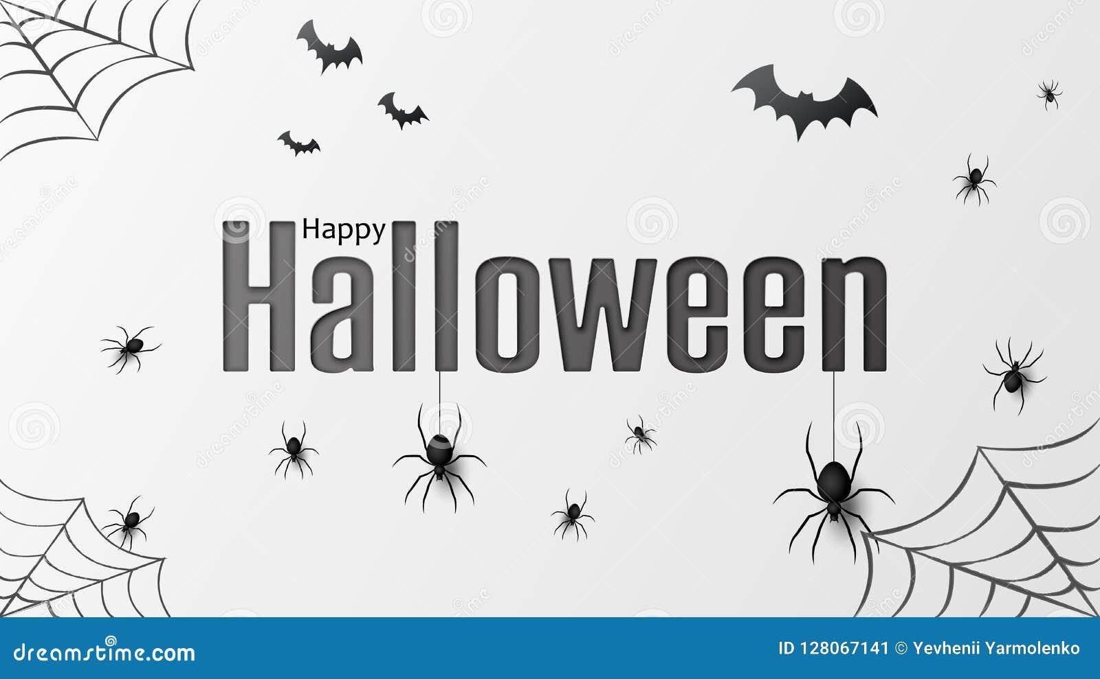 Halloween felice Vector il modello isolato con i ragni d attaccatura e battuto il ragno per l insegna, il manifesto, cartolina d