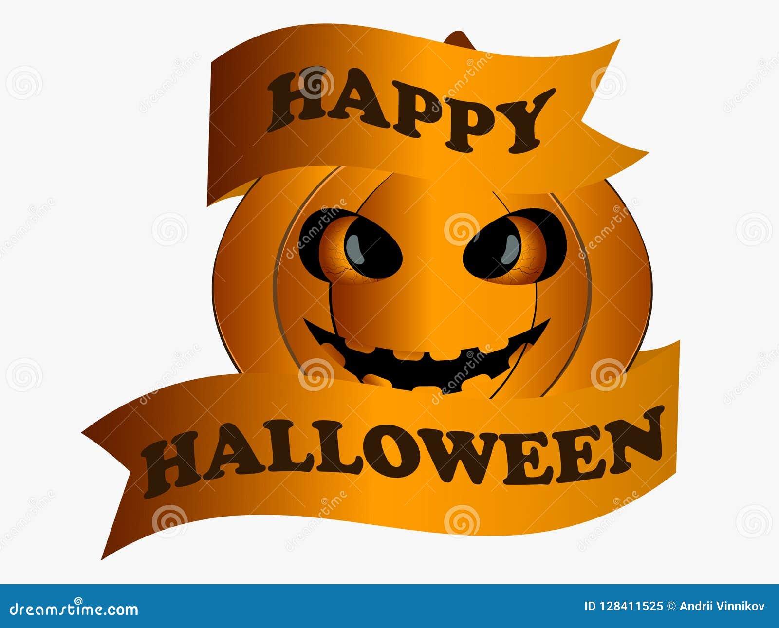 Halloween felice Zucca con il nastro, elemento di progettazione della cartolina d auguri Vettore