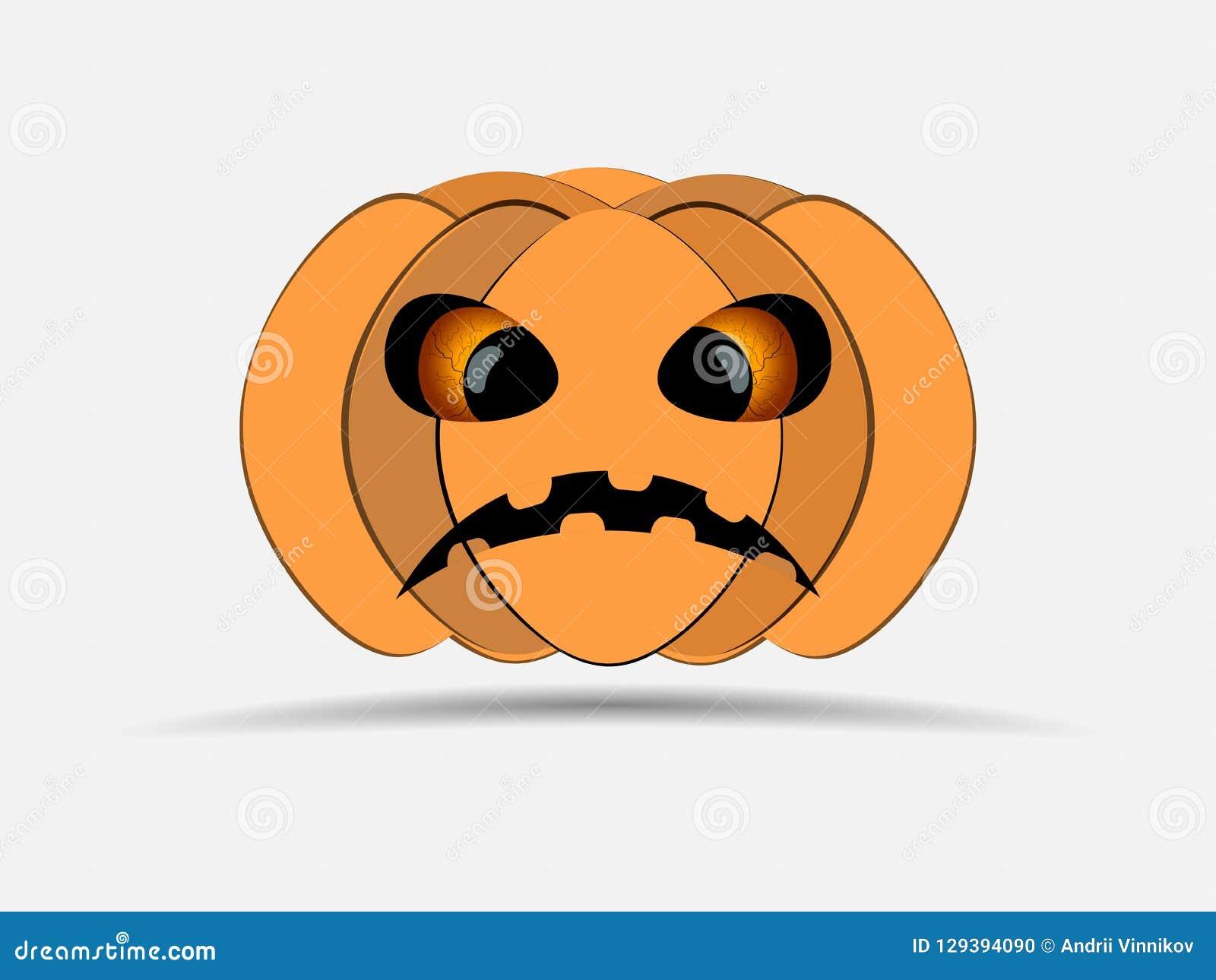 Halloween felice Zucca isolata su priorità bassa bianca Icona della lanterna di Jack o Vettore