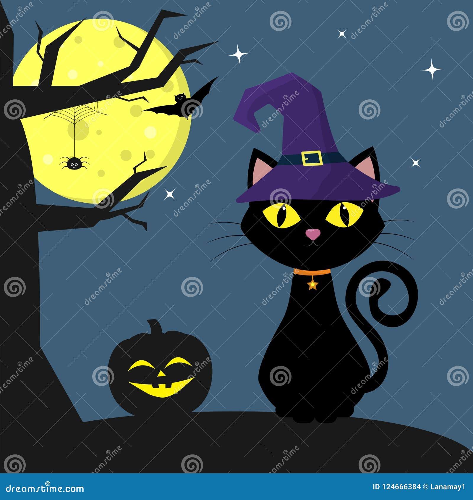 Halloween Feliz O Bruxa Chapeu Do Gato De Dia Das Bruxas Senta Se
