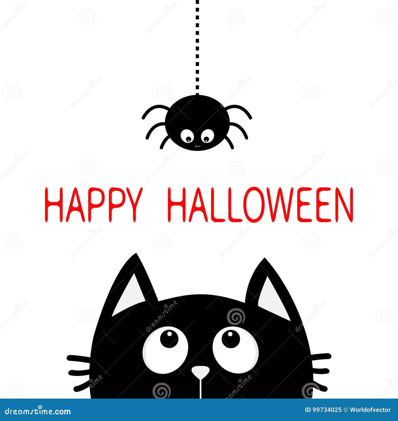 Halloween feliz Silhueta da cabeça da cara do gato preto que olha acima à suspensão na linha inseto do traço do Web spider Person
