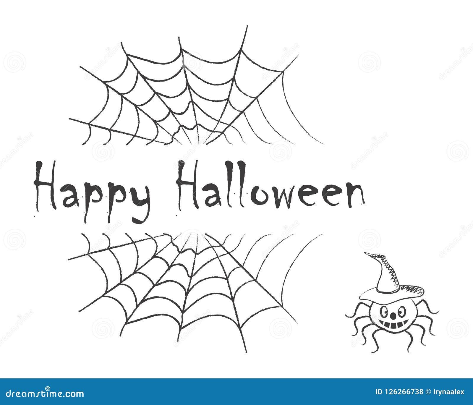Halloween Feliz Texto Preto No Fundo Das Teias De Aranha