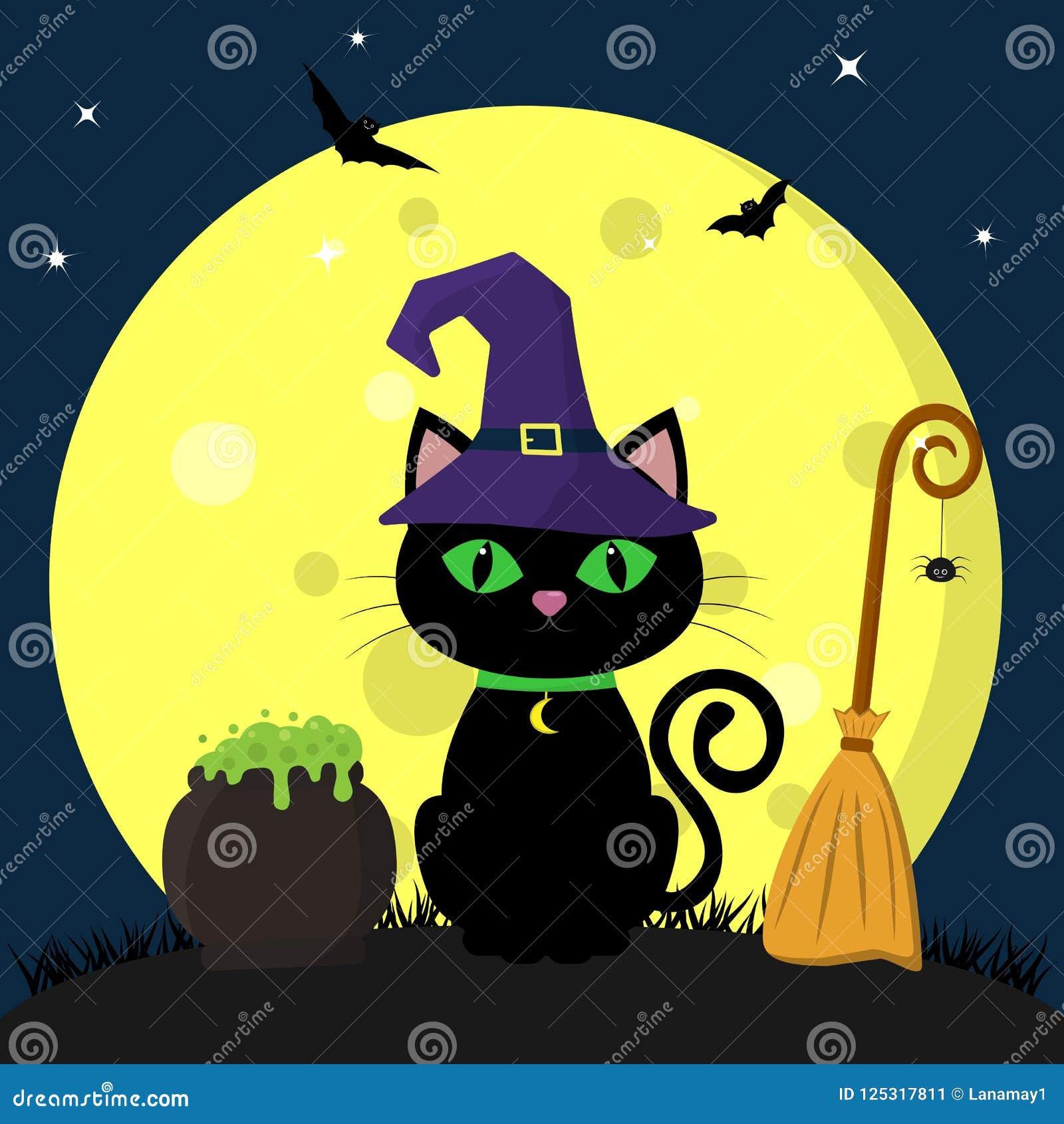 Halloween Feliz Um Gato Preto De Dia Das Bruxas Em Um Chapeu Da