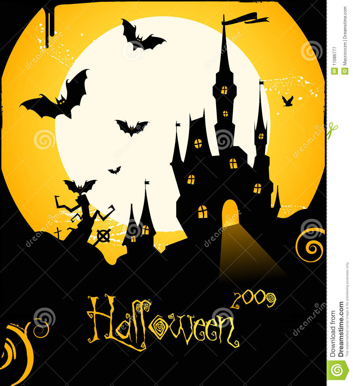 Halloween Flyer Background With Castle And Bats Royalty Free Stock ...