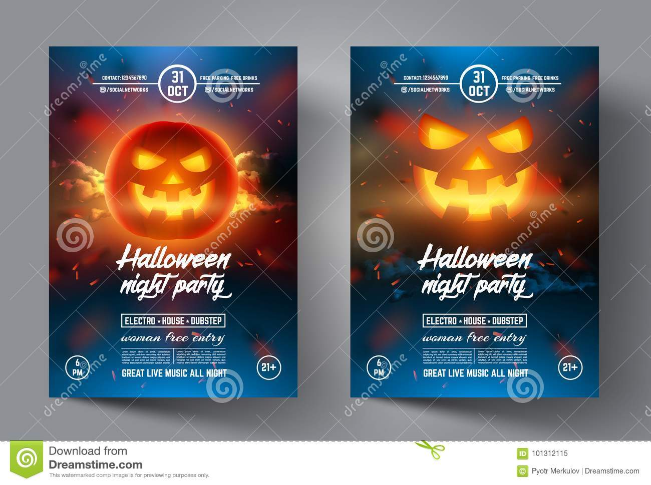 Halloween Flyer Design Template Banner Or Leaflet Cover Brochure And Poster