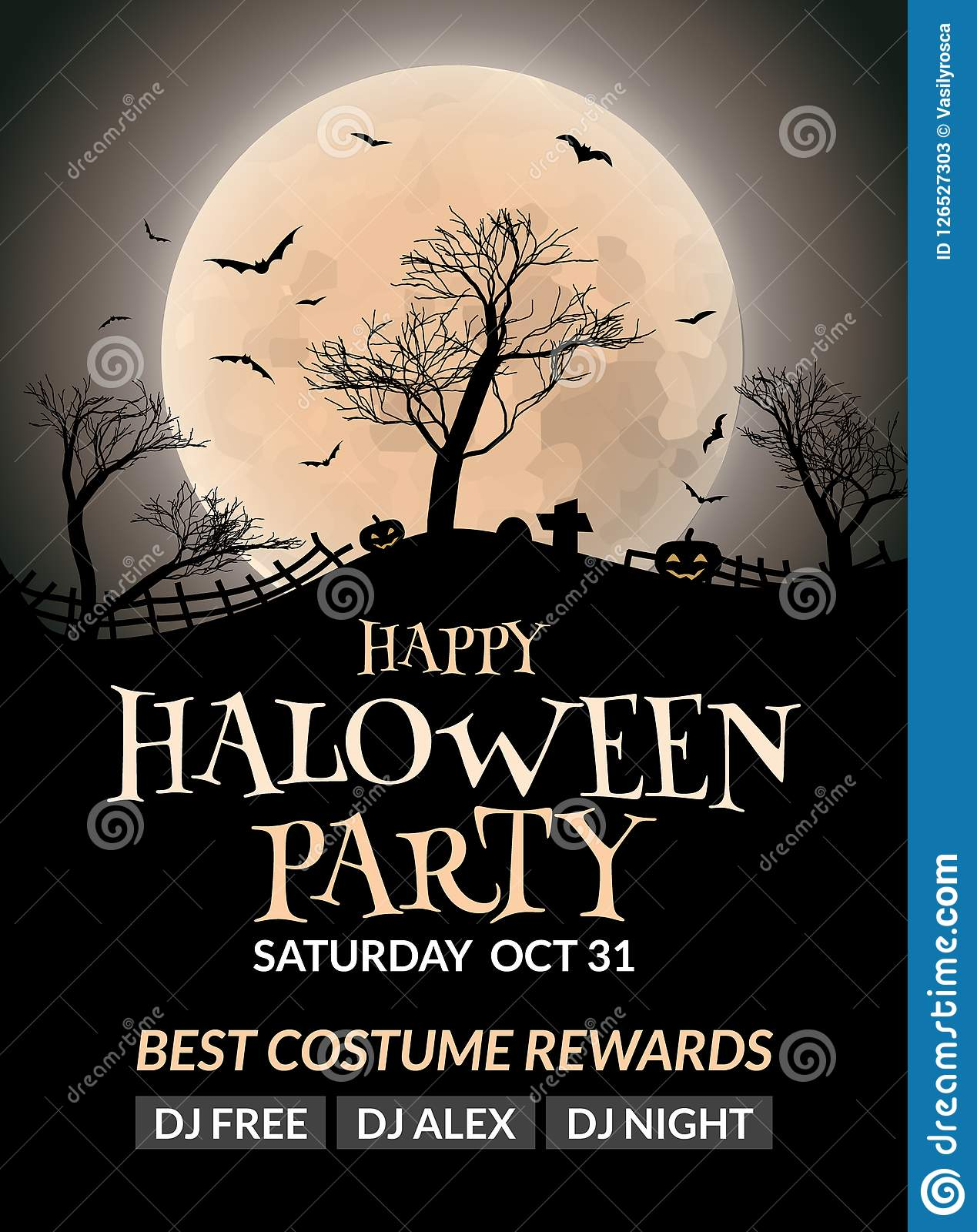 Halloween Flyer Or Poster Design Template Invitation Layout Wuth Tree Moon And Bat