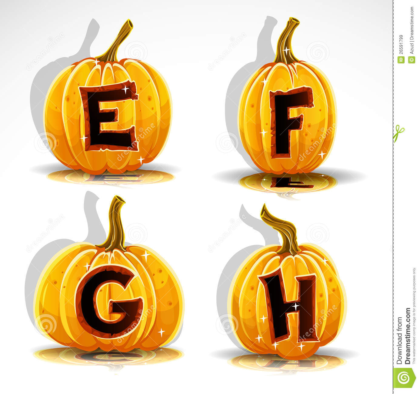 Halloween Font Cut Out Pumpkin Letter EFGH Royalty Free