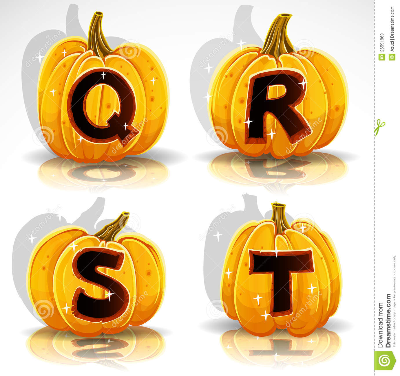 halloween font cut out pumpkin letter q,r,s,t stock vector