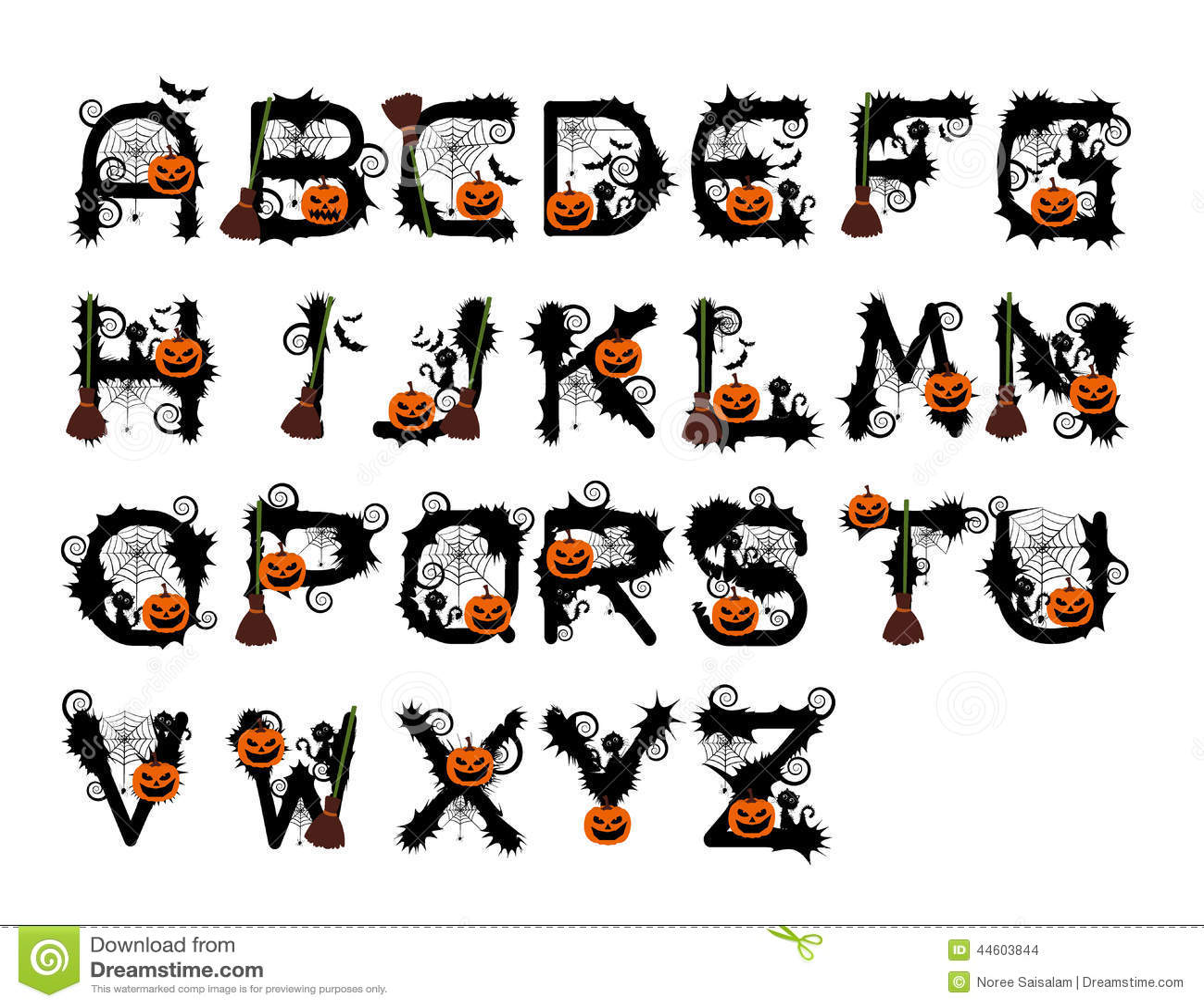 Halloween Font Design Vector Stock Vector - Illustration of pumpkin ...