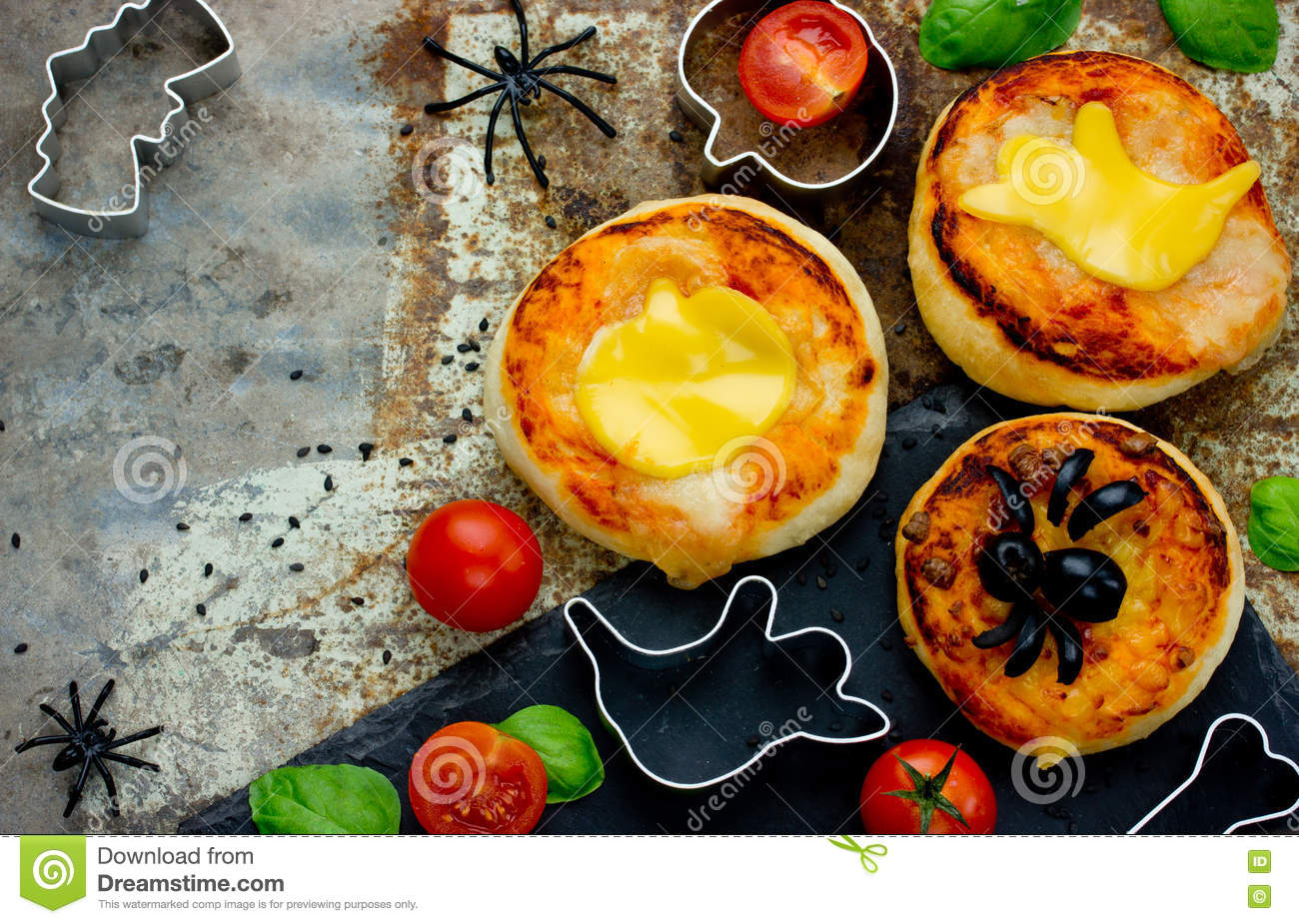 Halloween Food Background Funny Mini Pizza For Party Stock Photo ...