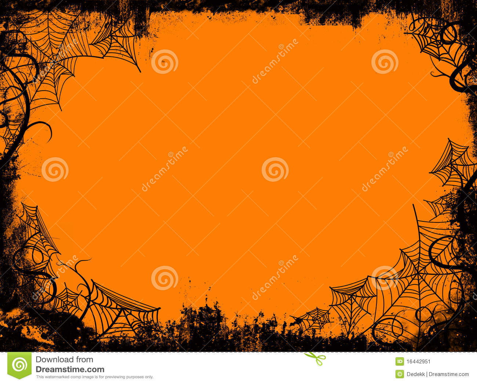 Halloween frame withspider webs on orange background.