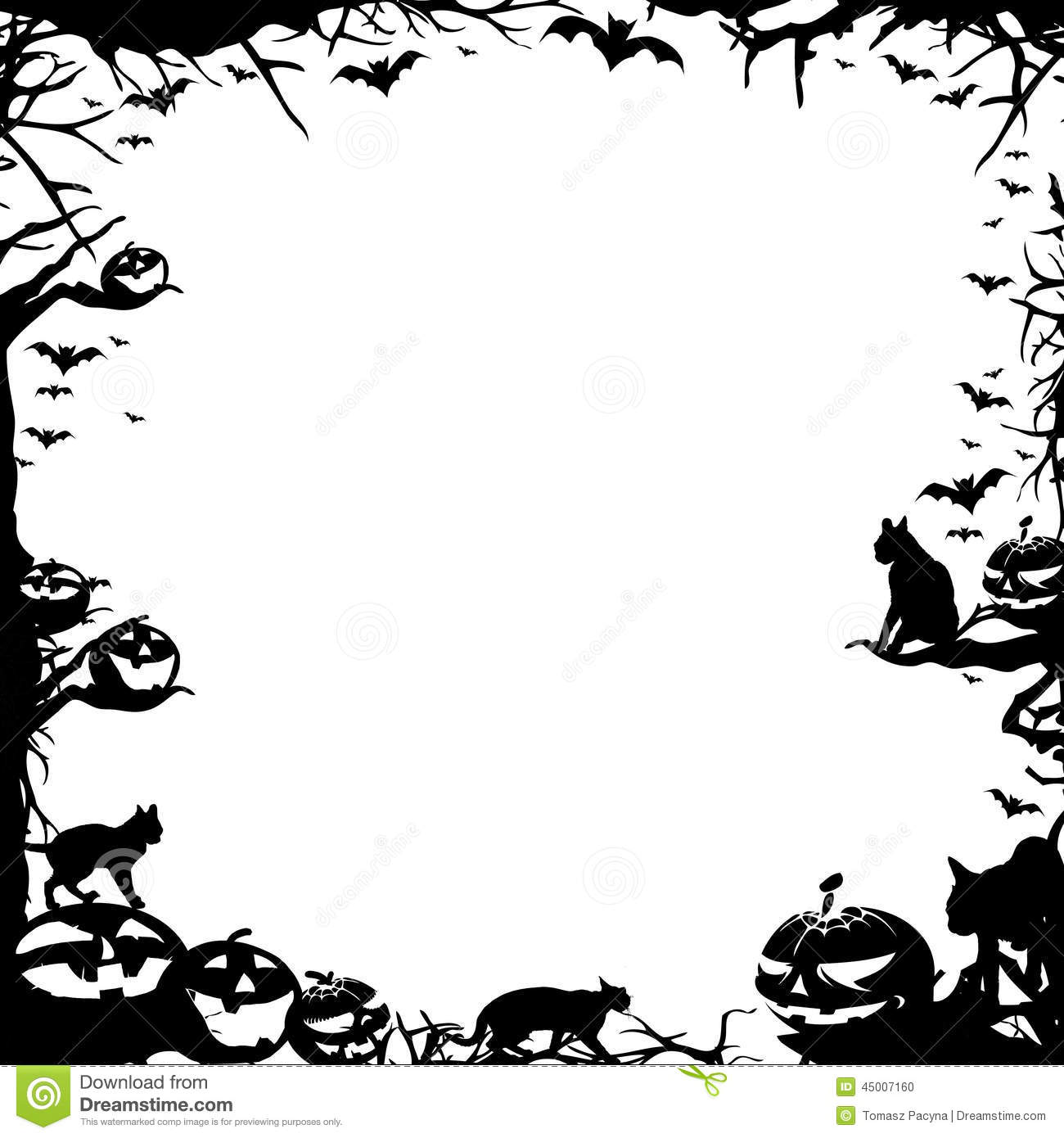 Halloween Frame Border Isolated On White Stock Photography ...