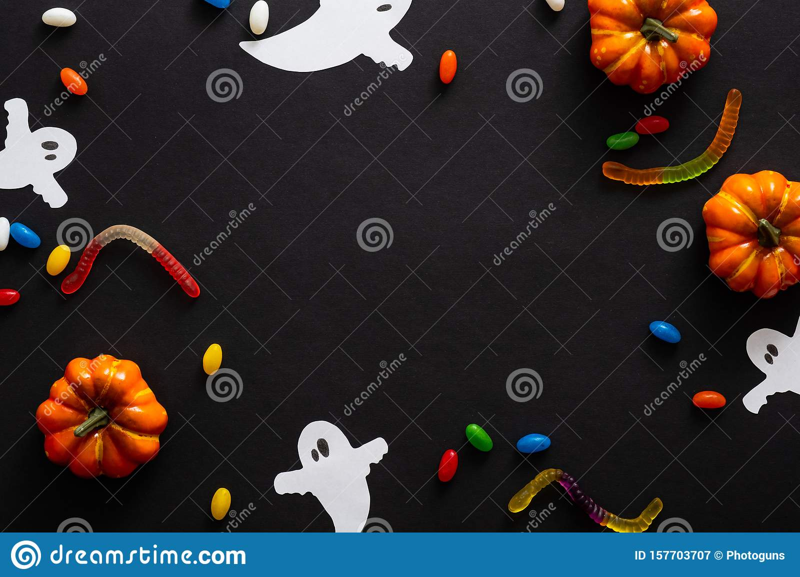 Halloween Frame With Pumpkins Candy Ghosts Isolated On