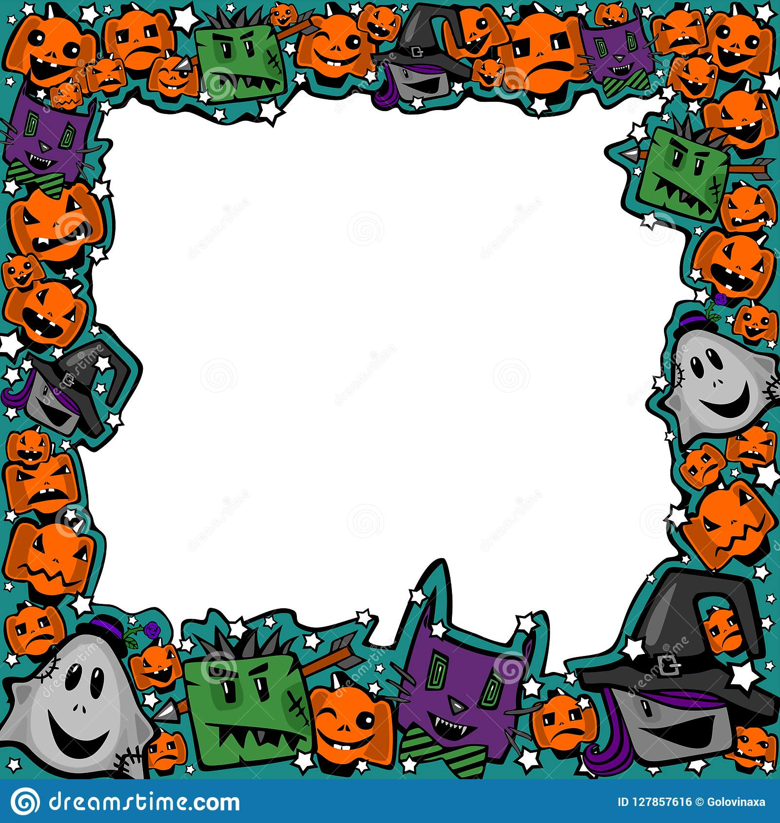 Halloween Frame With Witches, Zombies, Ghosts, Cats And