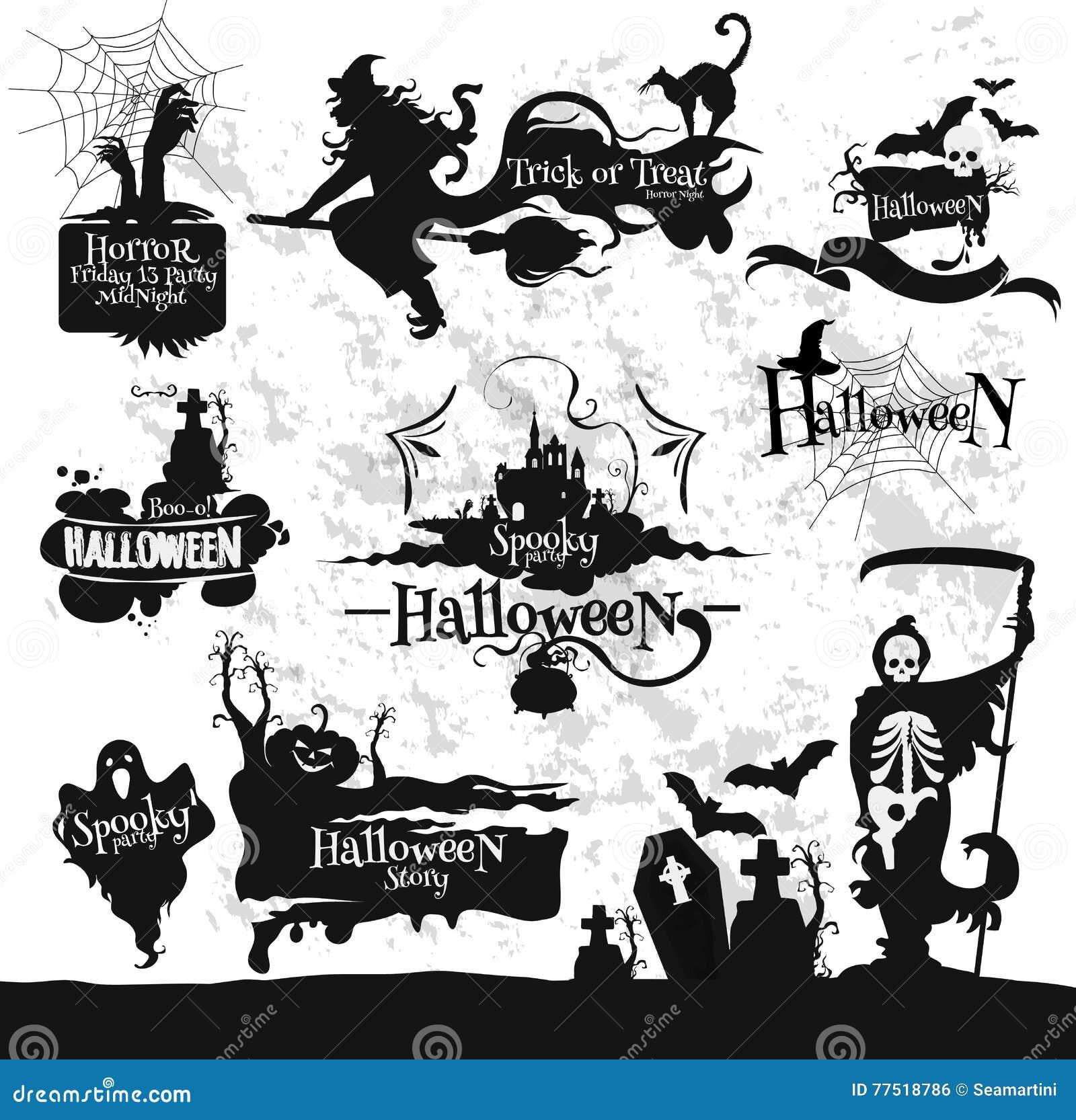 Halloween, Friday 13 Horror Party Decorations Set Stock Vector ...