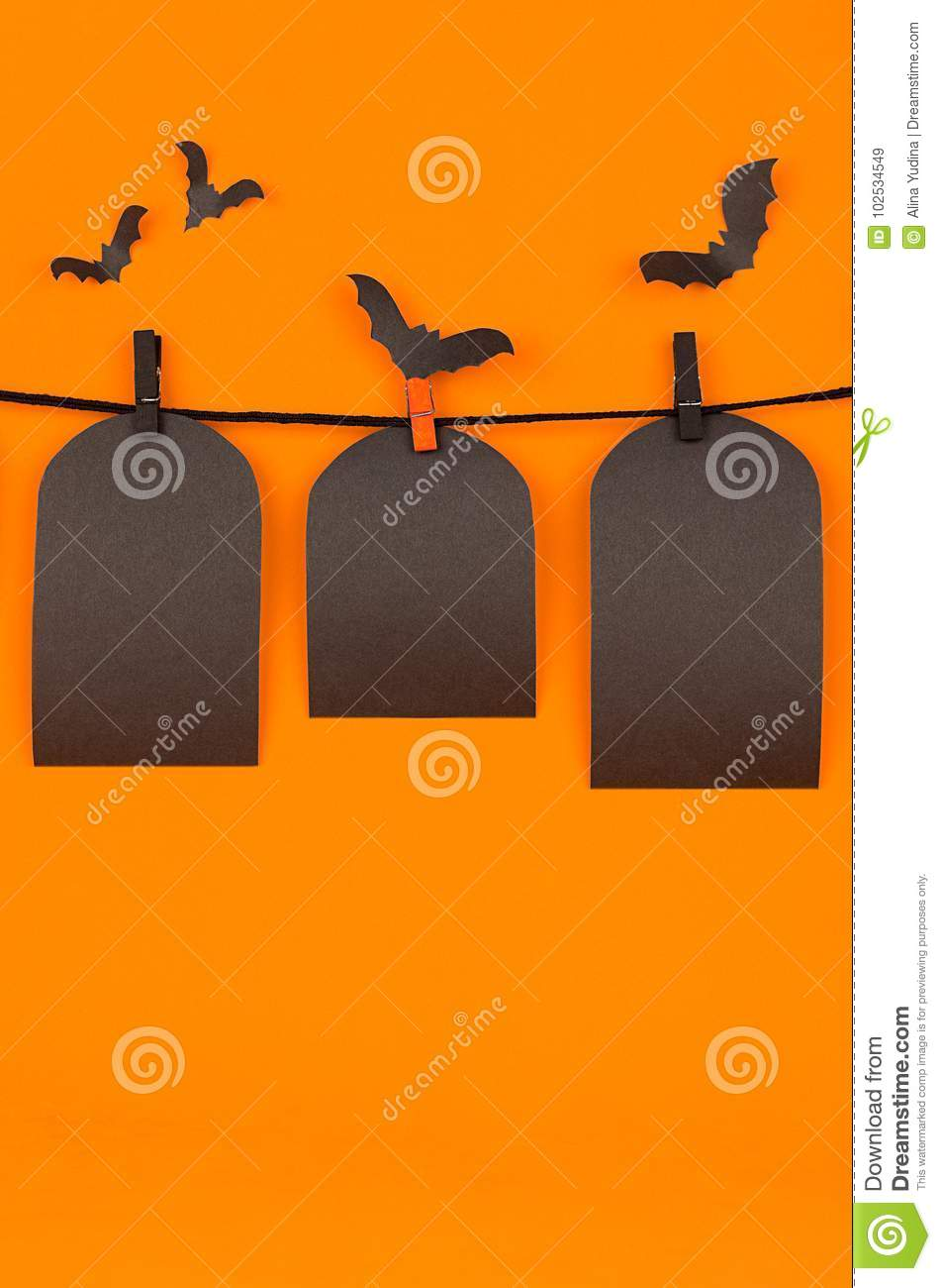 halloween fun orange background with black blank labels mock up