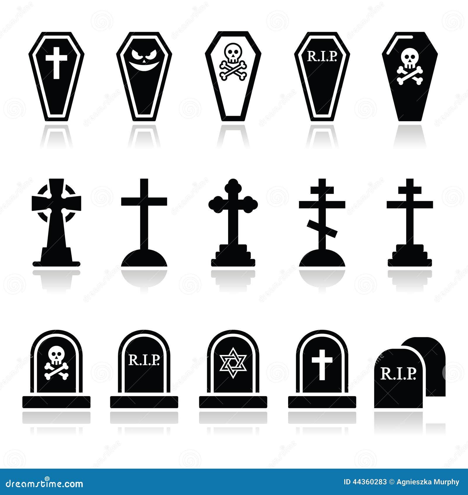 Halloween Kruis.Halloween Geplaatste Kerkhofpictogrammen Doodskist Kruis