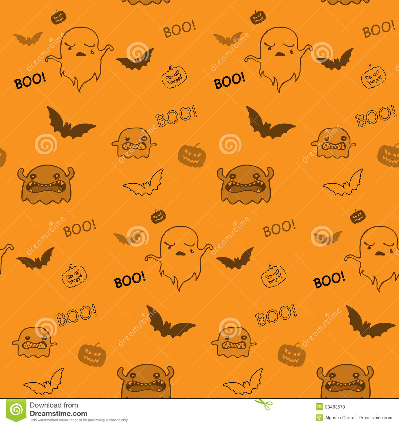 Halloween Ghost Bat Pumpkin Seamless Pattern Backg Stock Vector ... for Background Pattern Tumblr Orange  111ane