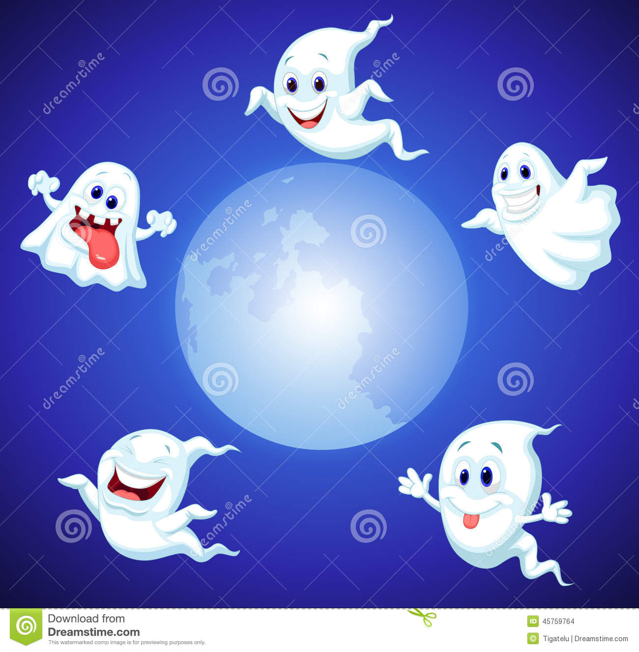 Halloween Ghost Cartoon Stock Vector - Image: 45759764