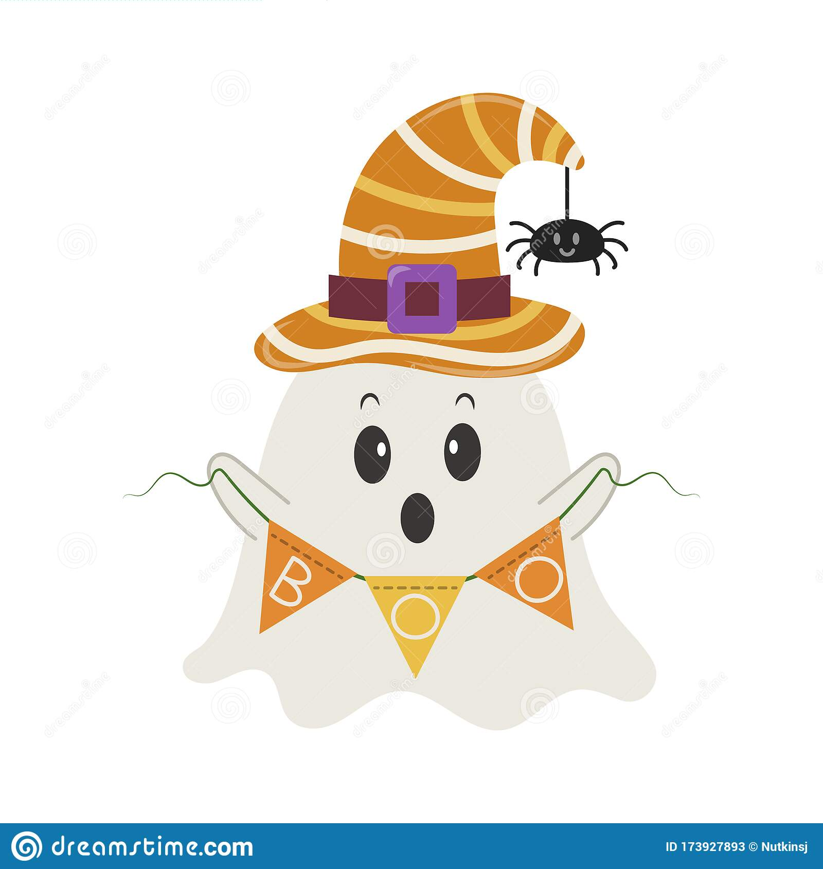 Little Ghost With Boo Garland Flags Stock Vector Illustration Of Halloween Holiday 173927893
