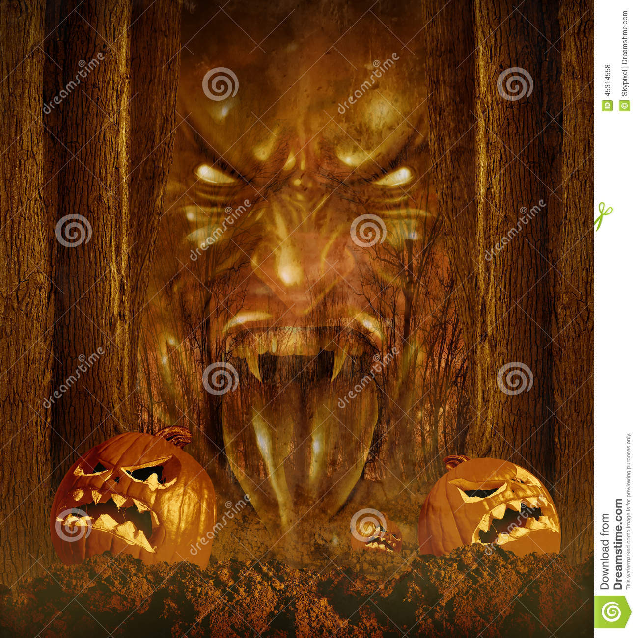 Ghost In Haunted Forest On Halloween Royalty-Free Stock