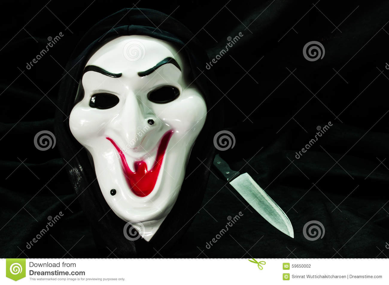 Halloween Ghost Face Mask With Knife Stock Photo - Image: 59650002