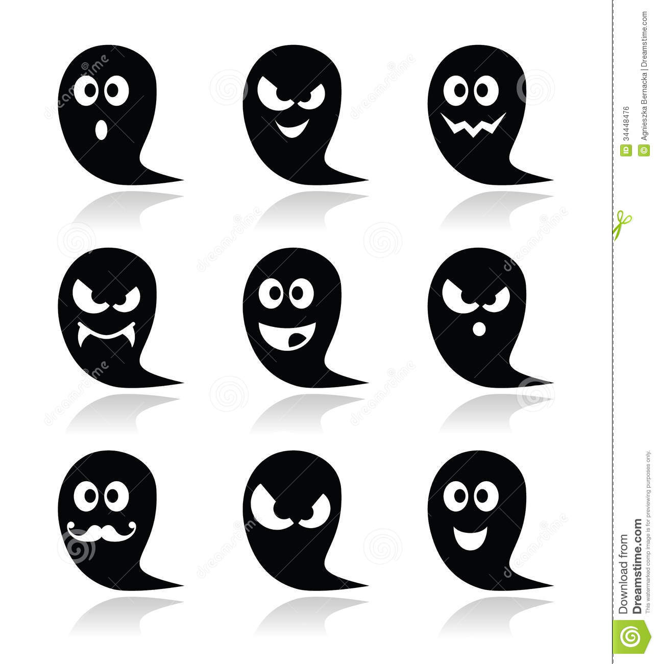 Halloween ghost icons set scary friendly happy stock download comp publicscrutiny Images
