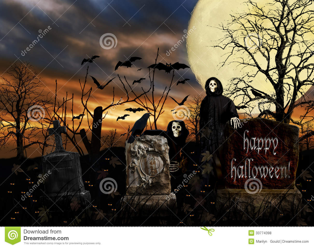 Royalty free stock photos halloween ghosts cemetery bats