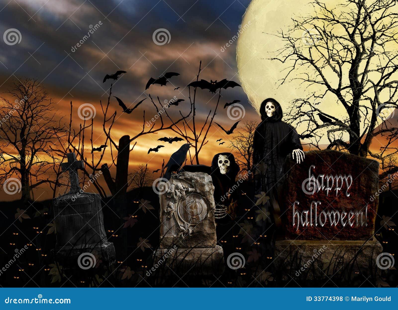 Halloween Ghosts Cemetery Bats Stock Photo Image Of Moon