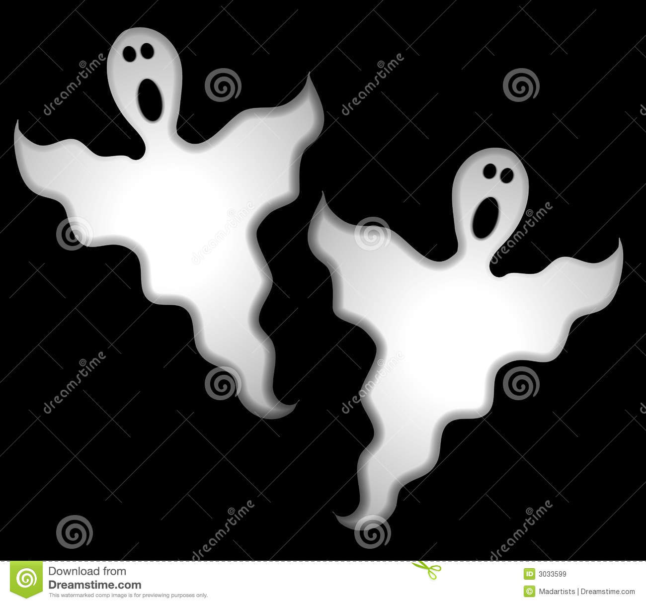 clip art illustration of a pair of spooky looking ghosts in white ...
