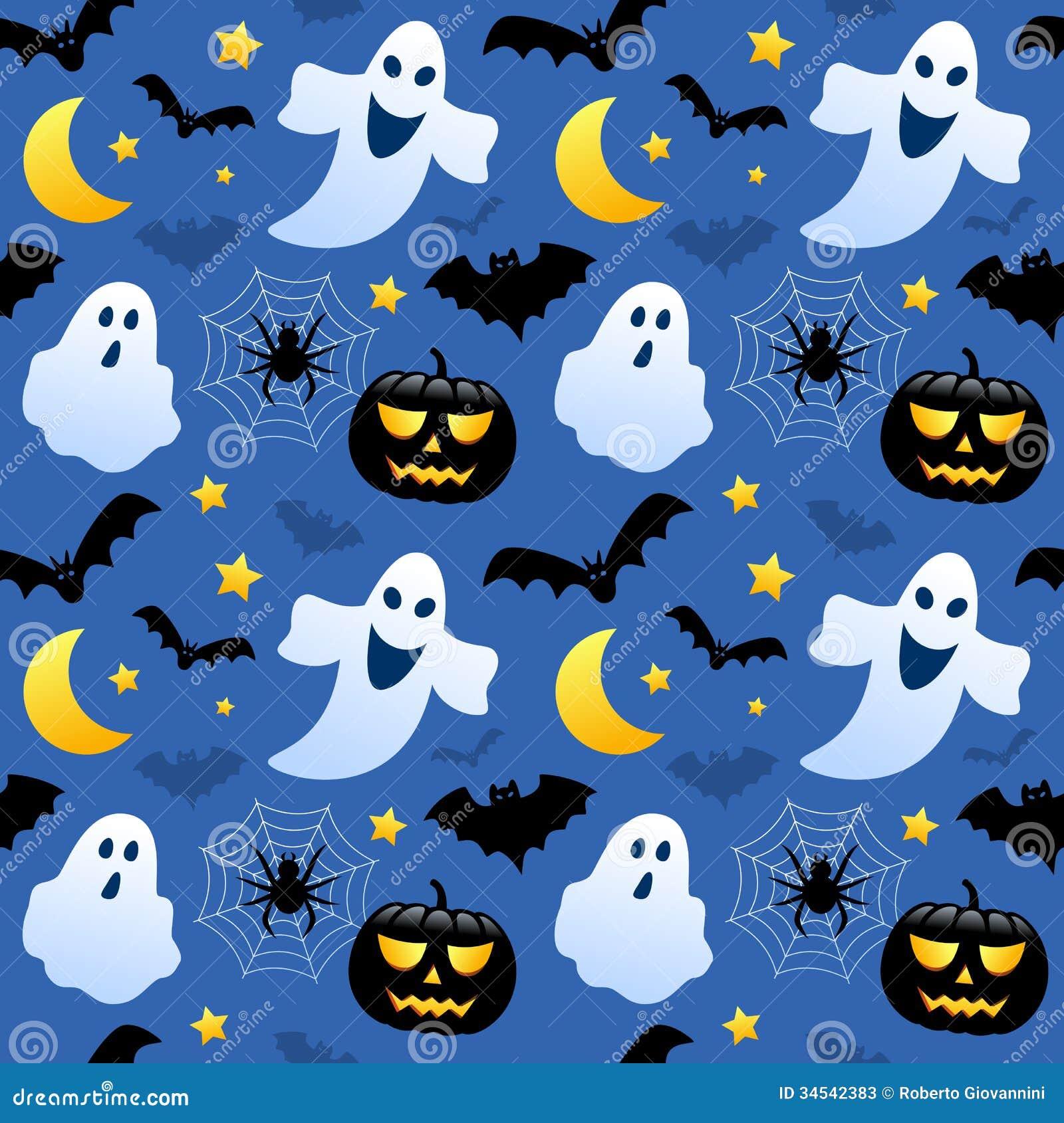 Popular Wallpaper Halloween Ghost - halloween-ghosts-seamless-pattern-black-pumpkins-bats-blue-background-useful-also-as-design-element-texture-34542383  Trends_217821.jpg
